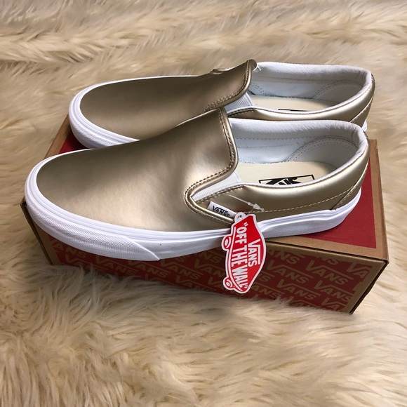 Vans ™ metallic gold Classic Slip-On NWT 5c7622338